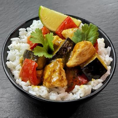 Рис кокосовый с курицей карри
