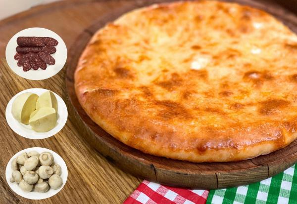 Пирог Осетинский с сулугуни, салями и грибами