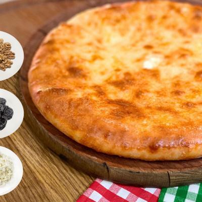 Осетинский Пирог с творогом, черносливом и грецким орехом